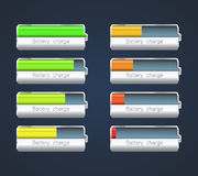 Charge indicator. Set of batteries showing different charge level. EPS10 Royalty Free Stock Image