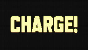 CHARGE! on Jumbotron LED screen. A set of 5 different loopable animations of the word CHARGE! with a large stadium LED effect stock video footage