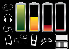 Charge levels. Battery charge levels and icons of the devices to be used with royalty free illustration