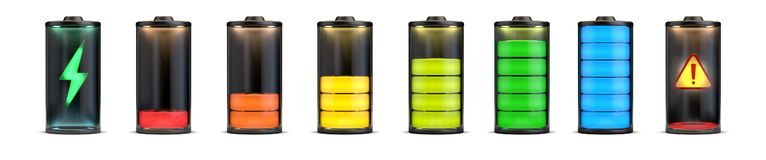 Charge Levels Battery Set. 3d rendering,conceptual image vector illustration