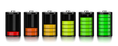 Charge Levels Battery Set Royalty Free Stock Images