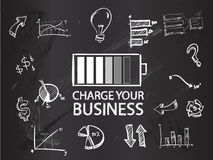 Charge your business on blackboard Royalty Free Stock Image