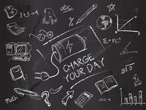 Charge your day on blackboard Royalty Free Stock Photography