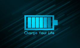 Charge Your Life Glowing. Blue Background Royalty Free Stock Image