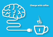 Charge your mind with coffee concept. Brain icon with cable is charging from coffee Stock Photography