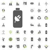 Chargeable battery icon. Eco and Alternative Energy vector icon set. Energy source electricity power resource set vector. Chargeable battery icon. Eco and Royalty Free Stock Images