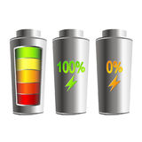 Charged and discharged battery Stock Image