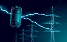 Charged polygonal alkaline battery power line. High voltage electrical tower pylon. Lightning thunder low poly polygon. Particle space dark sky industry vector illustration