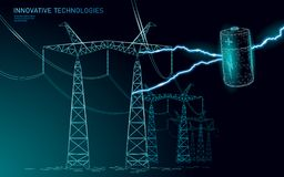 Charged polygonal alkaline battery power line. High voltage electrical tower pylon. Lightning thunder low poly polygon. Particle space dark sky industry royalty free illustration