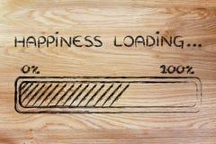 Chargement de bonheur, illustration de barre de progess Photos stock