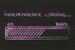Chargement de l'indépendance, illustration de barre de progess Photo libre de droits