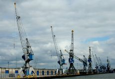 Chargement et déchargement dans le port de Rotterdam Image stock