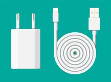 Charger adapter and cable. The device for charging electronic equipment. Vector illustration in flat style Royalty Free Stock Images