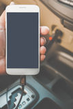 Charger plug phone on car stock images