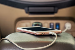 Charger plug phone on car. stock images