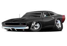 American Classic Muscle Car Cartoon