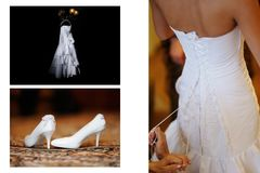 Charges the bride and dress up wedding gown Stock Photography