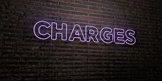 CHARGES -Realistic Neon Sign on Brick Wall background - 3D rendered royalty free stock image Royalty Free Stock Photos