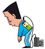 Charging. Vector illustration Charging businessman with low battery Royalty Free Stock Image