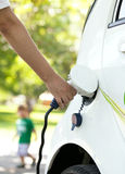 Charging battery of an electric car Royalty Free Stock Image