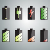 Charging the battery set of colored icons. Stock Image