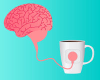 Charging brain caffeine Royalty Free Stock Photography