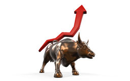 Charging Bull with Business Arrow Stock Photography