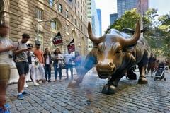 Charging Bull in Lower Manhattan Stock Photos