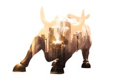 Charging Bull in Lower Manhattan. Corporate business, finance, stock market and economic prosperity conceptul collage. Charging Bull in Lower Manhattan on white royalty free stock photography