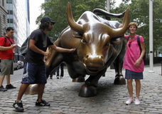 Charging Bull near Wall Street Royalty Free Stock Photography