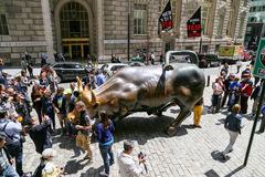 "Charging Bull in NY. New York City, USA - May 19, 2014: Many tourists posing near the Wall Street with ""Charging Bull' and take pictures Stock Image"