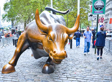 Charging Bull sculpture on the Wall Street Stock Images