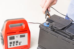 Charging car battery Royalty Free Stock Photography