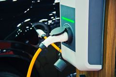 Charging of an electric car Stock Photo