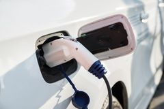 Charging of an electric car Royalty Free Stock Photo