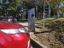 Charging Electric Car Station in Basovizza Trieste Italy royalty free stock photography