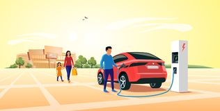 Charging Electric Car Suv while Family Shopping at Mall. Modern electric suv car parking at the charger station in front of shopping mall. Young family shopping stock illustration