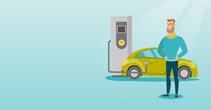 Charging of electric car vector illustration. Young caucasian man charging electric car at charging station. Man standing near power supply for electric car Stock Image