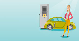 Charging of electric car vector illustration. Stock Photo