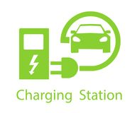 Charging for electric vehicles. Logo Road sign template of electric vehicle. Vector illustration of a minimalistic flat. Design stock illustration