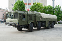 Charging machine from the Iskander missile system. Charging machine for Iskander, Rostov-on-Don, Russia, May 9, 2014. Reserve equipment for the Victory Parade stock images