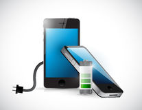 Charging mobile phone and cable illustration Stock Images