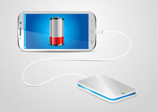 Charging a mobile phone with a powerbank stock illustration