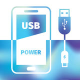 Charging mobile phone - USB connection - recharging energy. Charging mobile phone - USB connection - symbol recharging energy Stock Image