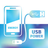 Charging mobile phone - USB connection - recharging energy. Charging mobile phone - USB connection - symbol recharging energy Stock Photos
