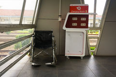 Charging place facility and wheel chair fo dissable people provided for commuter line passenger  free photo taken in Royalty Free Stock Photo