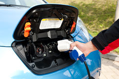 Charging point for electric and hybrid car Stock Image