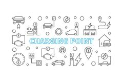 Charging point illustration. Vector EV charge point banner. Charging point simple illustration in thin line style. Vector EV charge point concept horizontal stock illustration