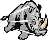 Charging Rhino. An angry, charging gray rhino stock illustration