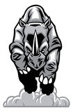 Charging rhino. Vector of angry charging rhino mascot royalty free illustration